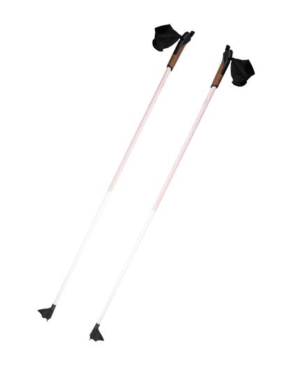 厂家直销供应优质铝碳纤维滑雪杖OEM 1型越野木柄带软木手柄
